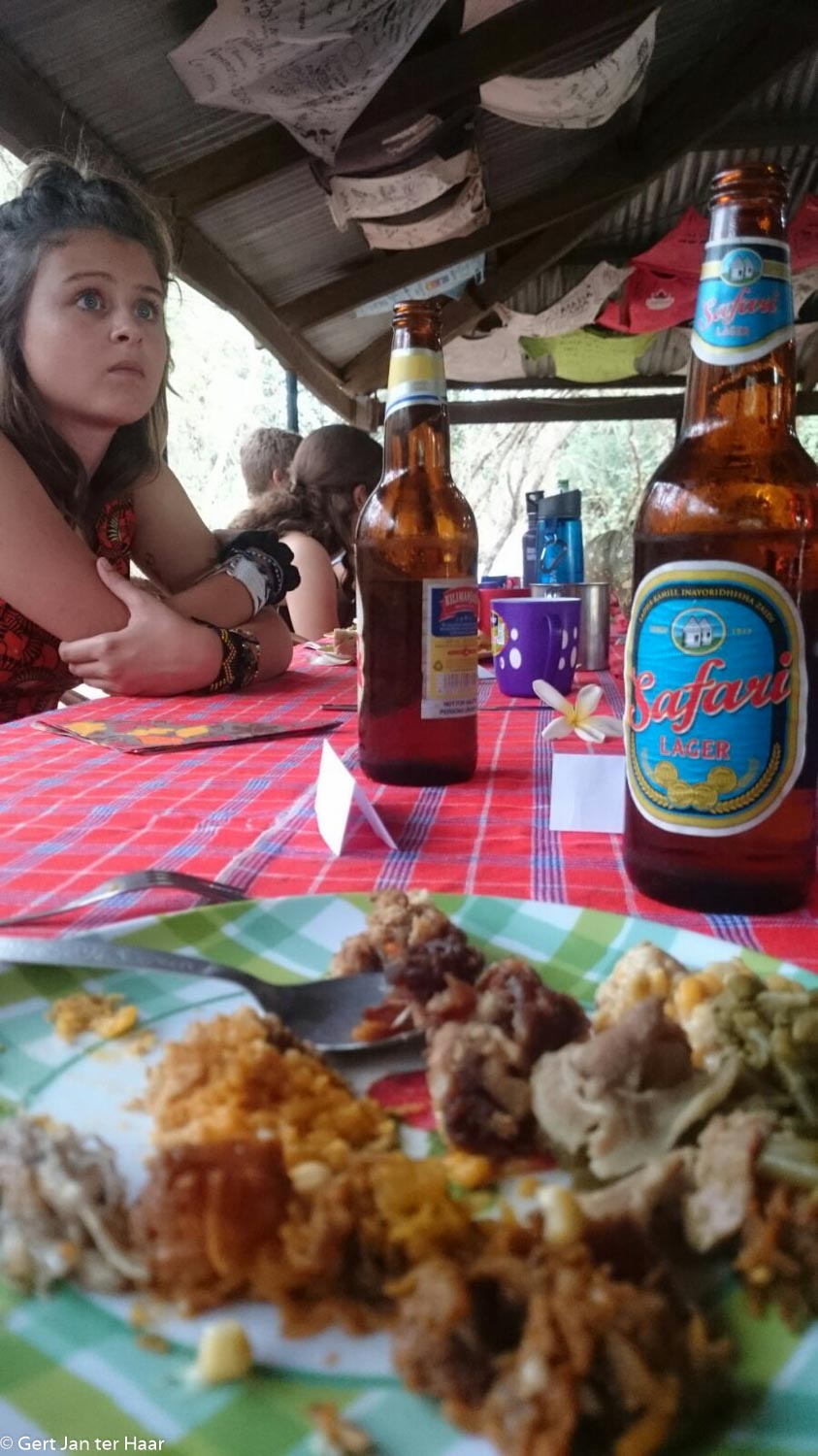 diner with American youngsters, Meserani Snake Park Camping, Arusha, Tanzania