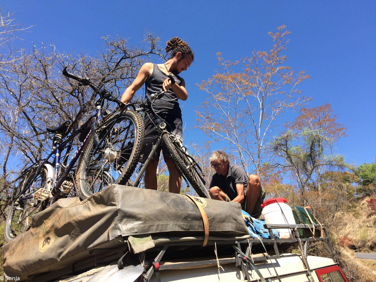 helping Peter with the bikes, Nkata Bay, Malawi