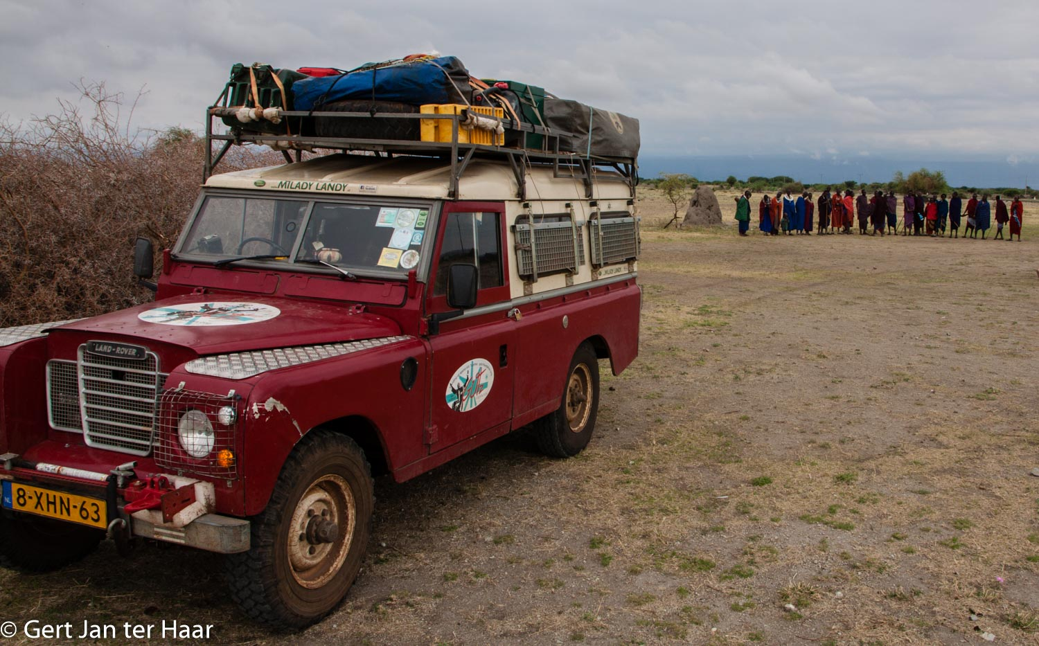 Milady Landy with Maasai, Maasai land, Tanzania