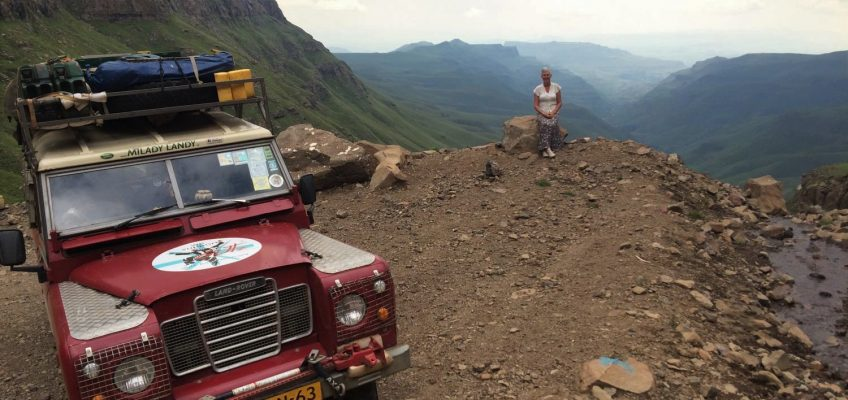 Milady Landy in a view of the Sani pass, South Africa